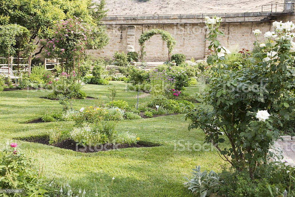 Walled Formal Rose Garden and Lawn in Boise, Idaho royalty-free stock photo