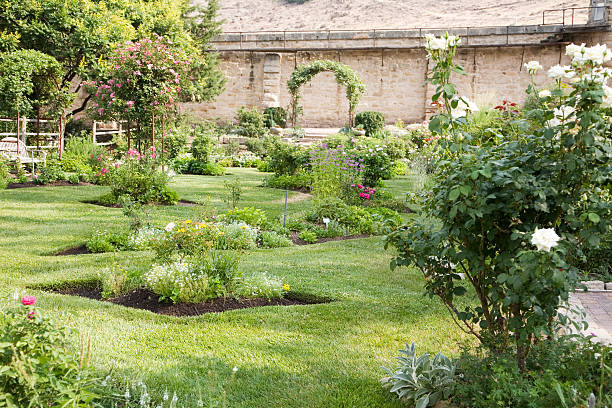 Walled Formal Rose Garden and Lawn in Boise, Idaho stock photo