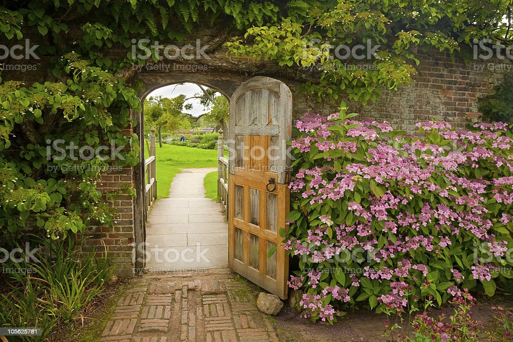 Walled Garden with Hydrangeas stock photo
