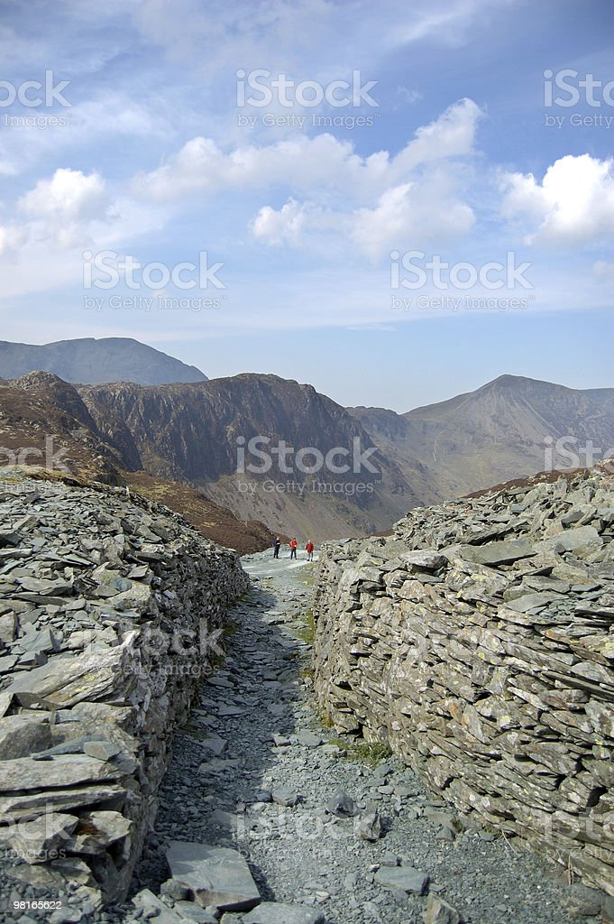 Walled path on Haystacks royalty-free stock photo