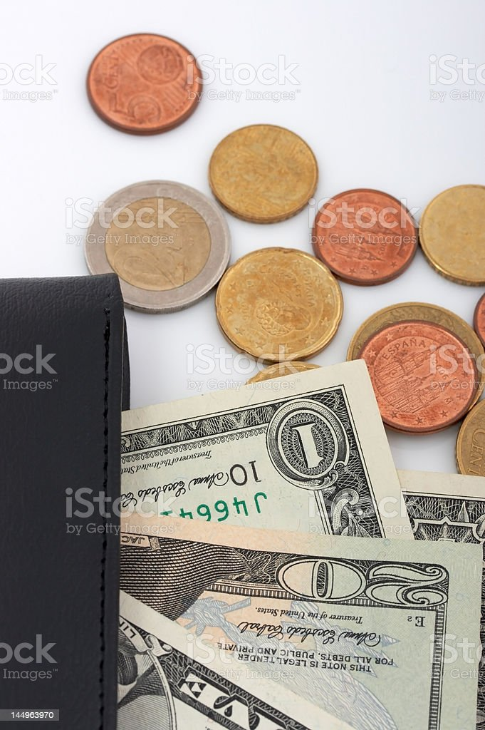 wallet and currencies royalty-free stock photo