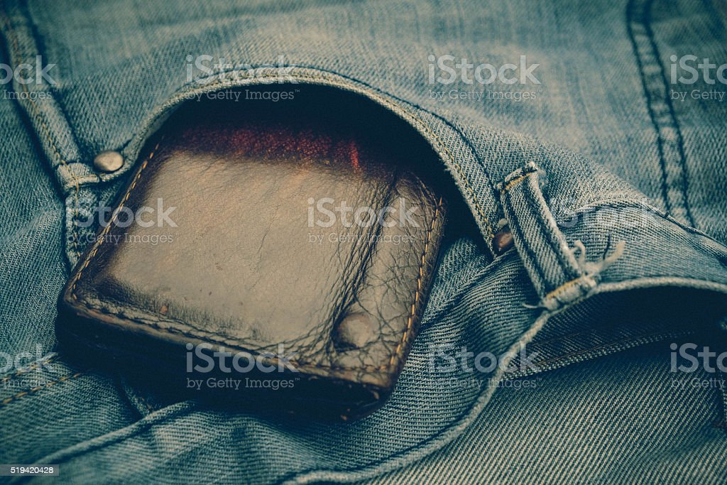 wallet and jean with filter effect retro vintage style stock photo