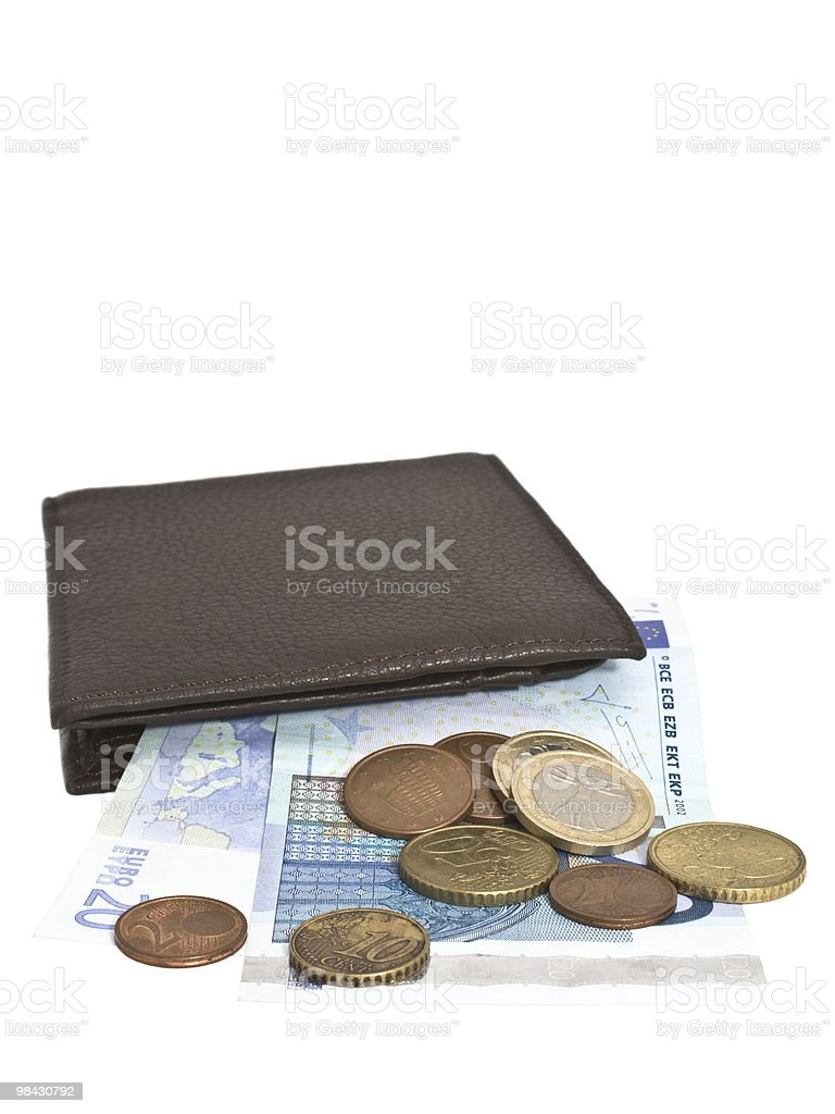 wallet and money on a white background royalty-free stock photo