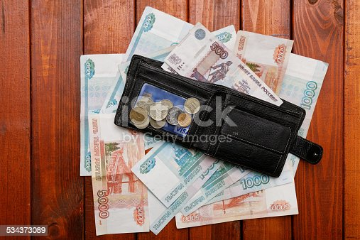 Wallet and money on wood background