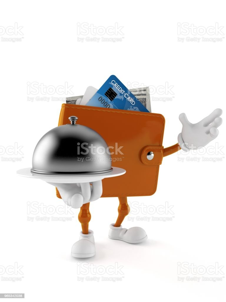 Wallet character holding catering dome royalty-free stock photo
