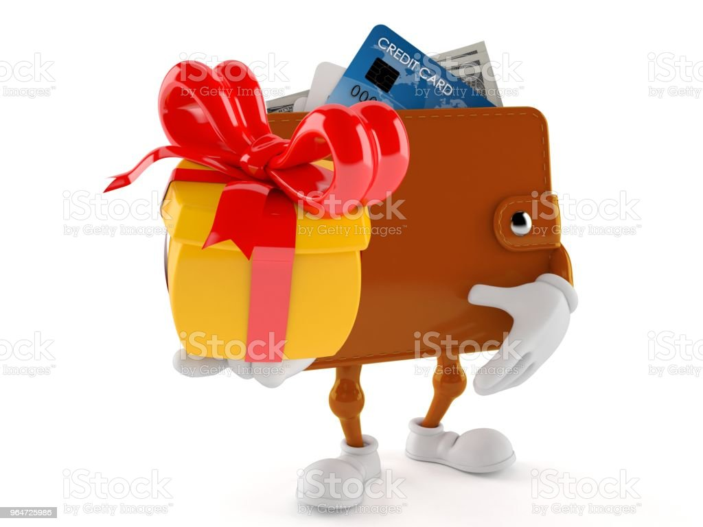 Wallet character holding gift royalty-free stock photo