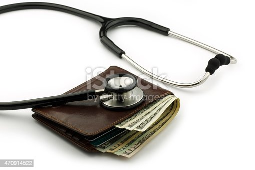 Wallet checkup with stethoscope.