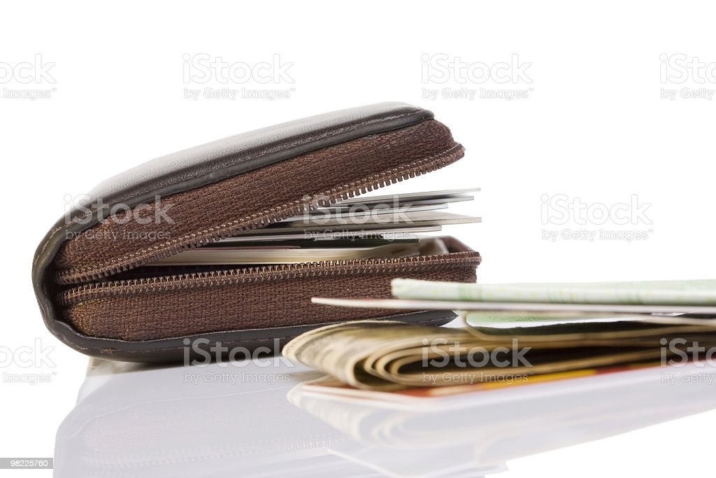 Wallet credit cards and money royalty-free stock photo