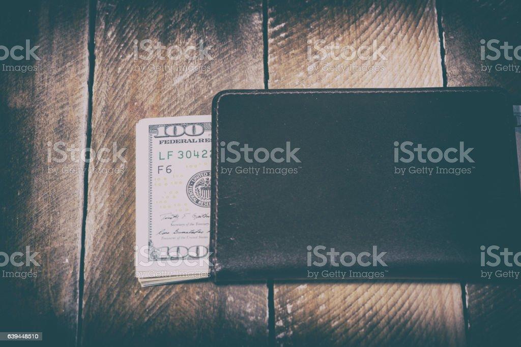 wallet full of dollars stock photo