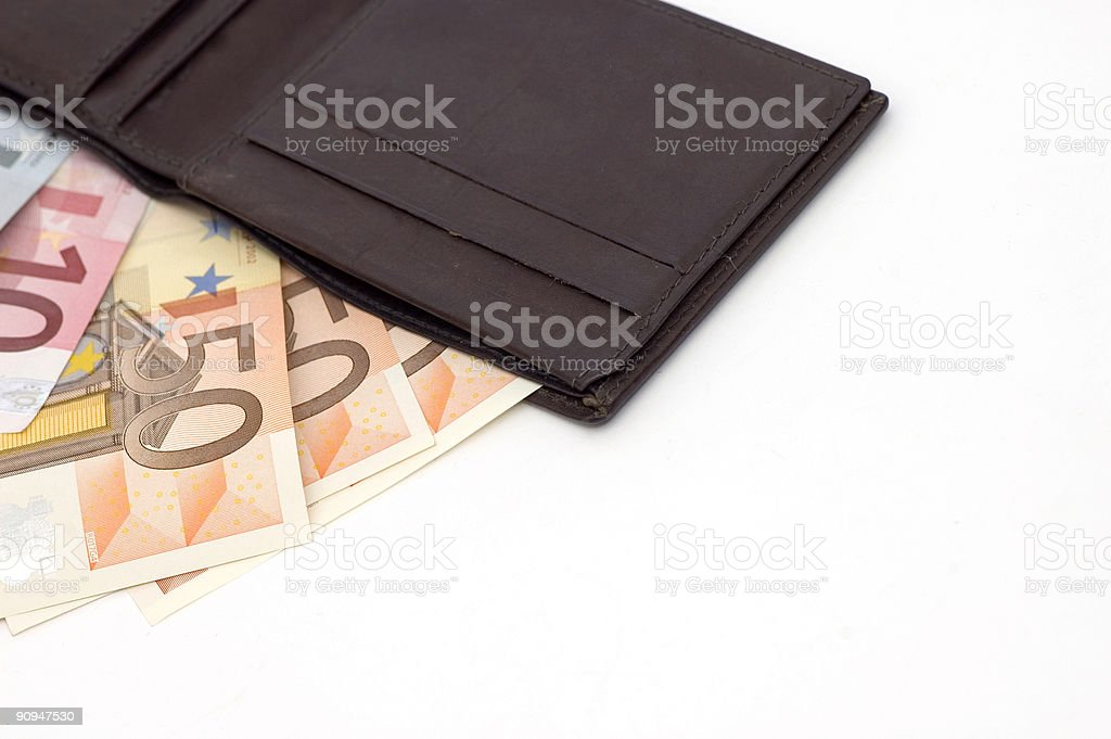 Wallet full of euros royalty-free stock photo