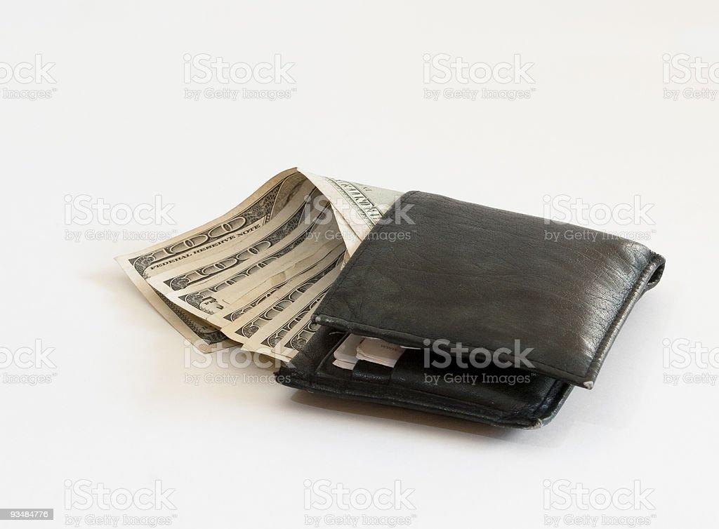 Wallet full of hundred dollar bills stock photo