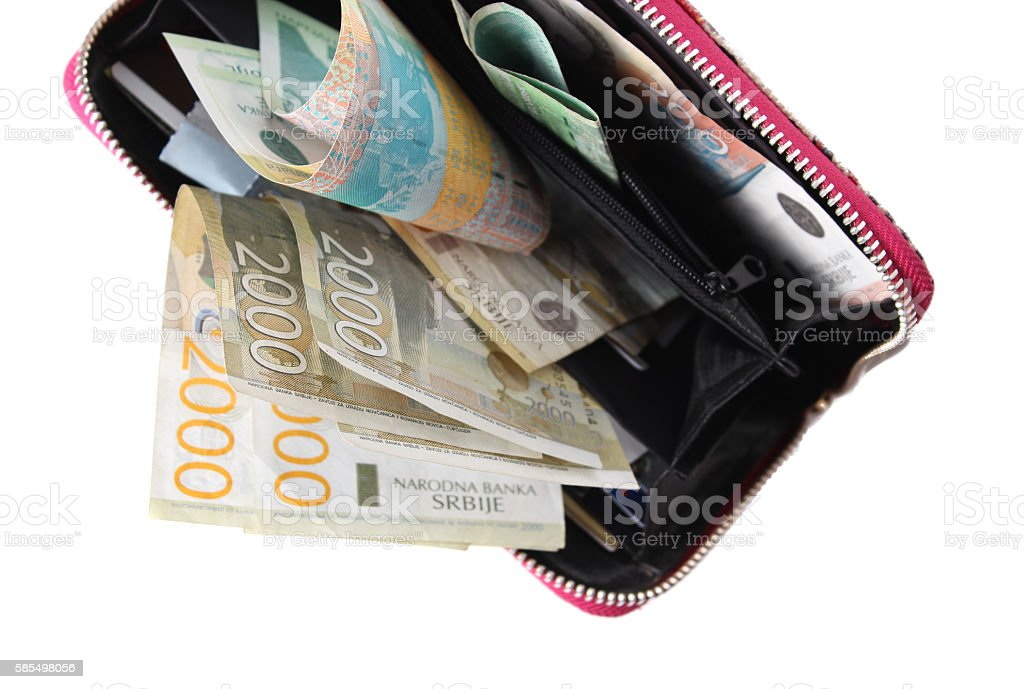 Wallet full of Serbian money dinars stock photo