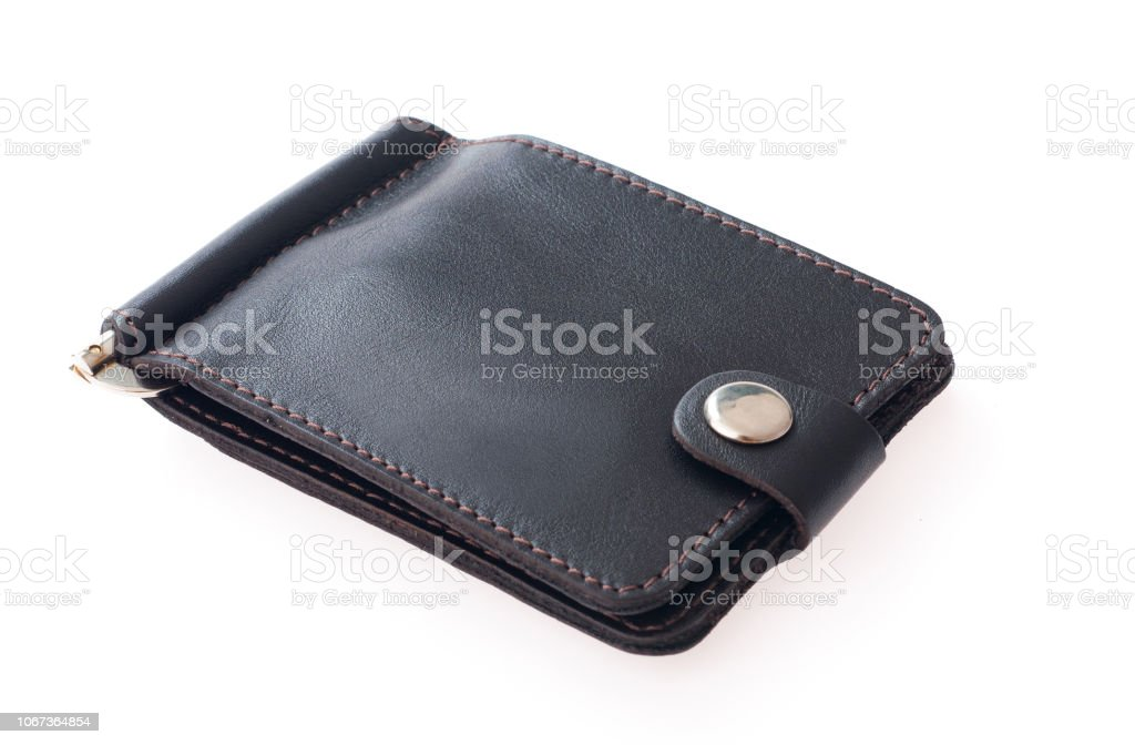 Wallet isolated on white background. Business card holder flat lay stock photo