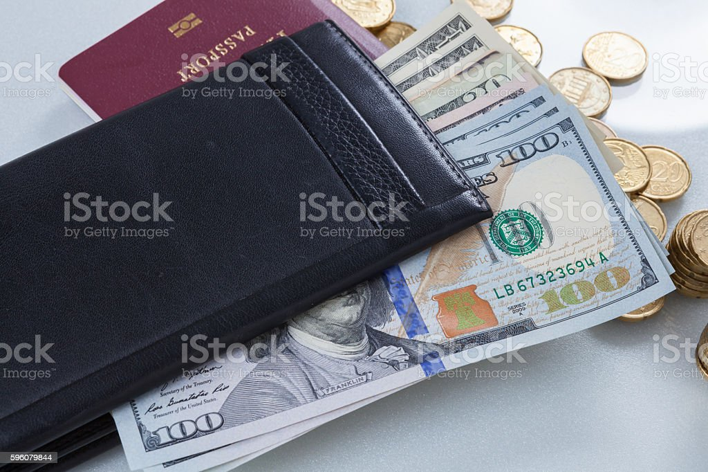 Wallet, money dollars, Euros with passport for travel royalty-free stock photo