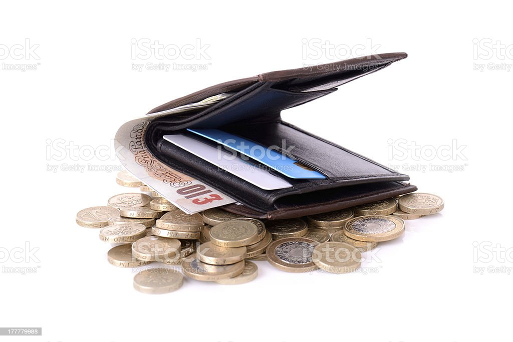 wallet on coins royalty-free stock photo