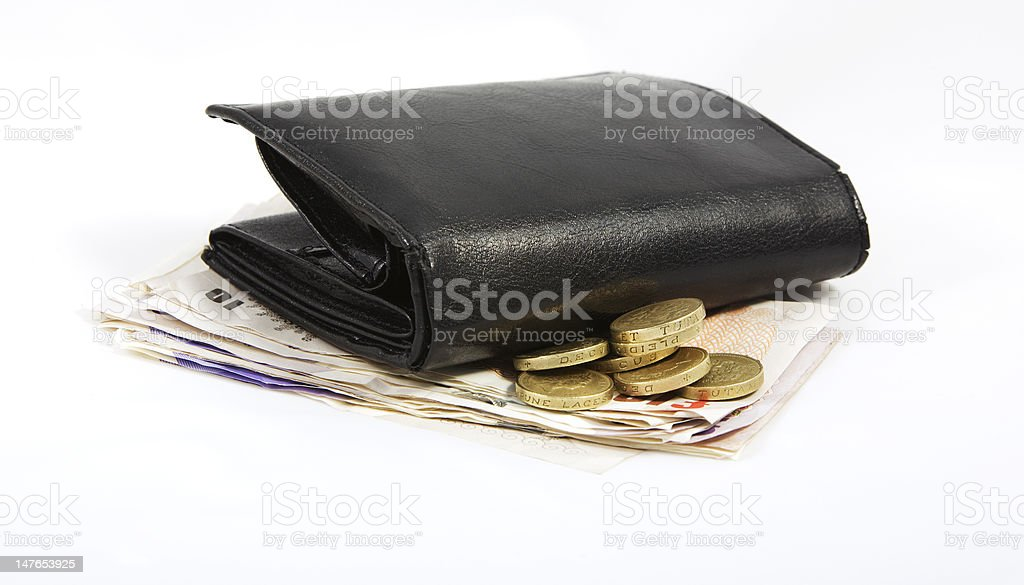 wallet on pounds royalty-free stock photo