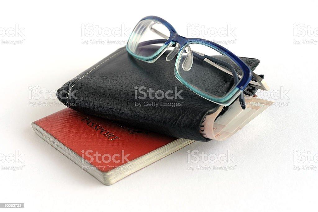 Wallet passport reading glass royalty-free stock photo
