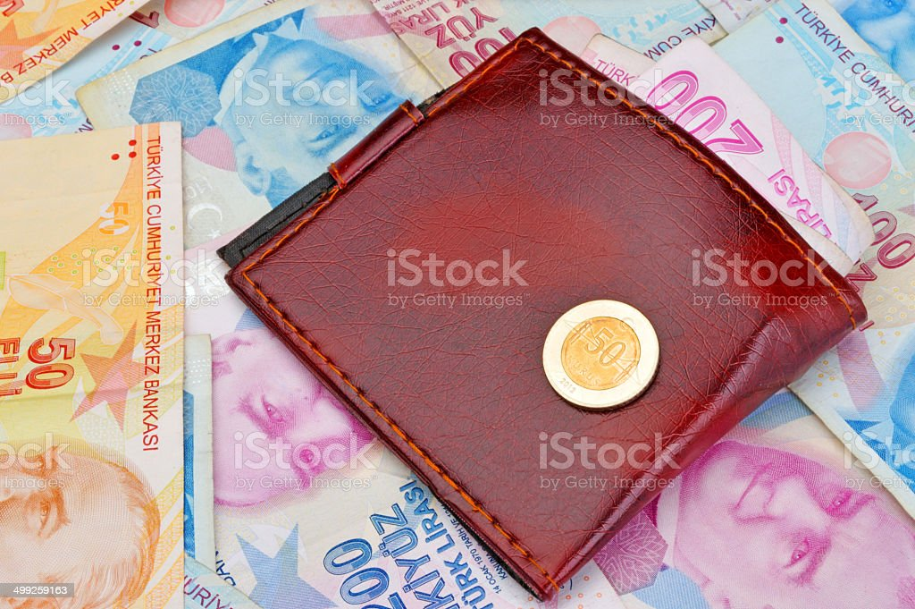 wallet on Turkish paper and coins currency