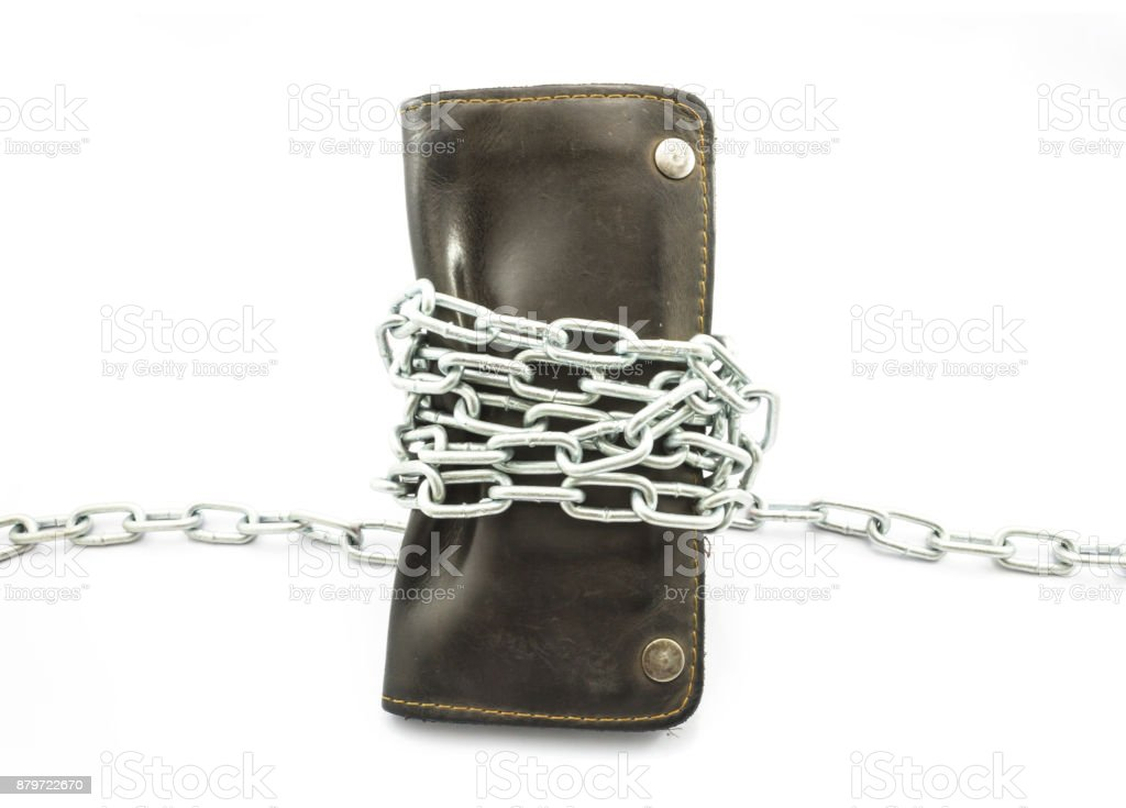 wallet Strangled with a chain stock photo