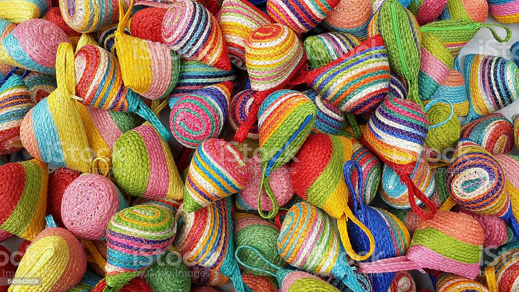Wallet weave make from colorful of sisal lay piled stock photo