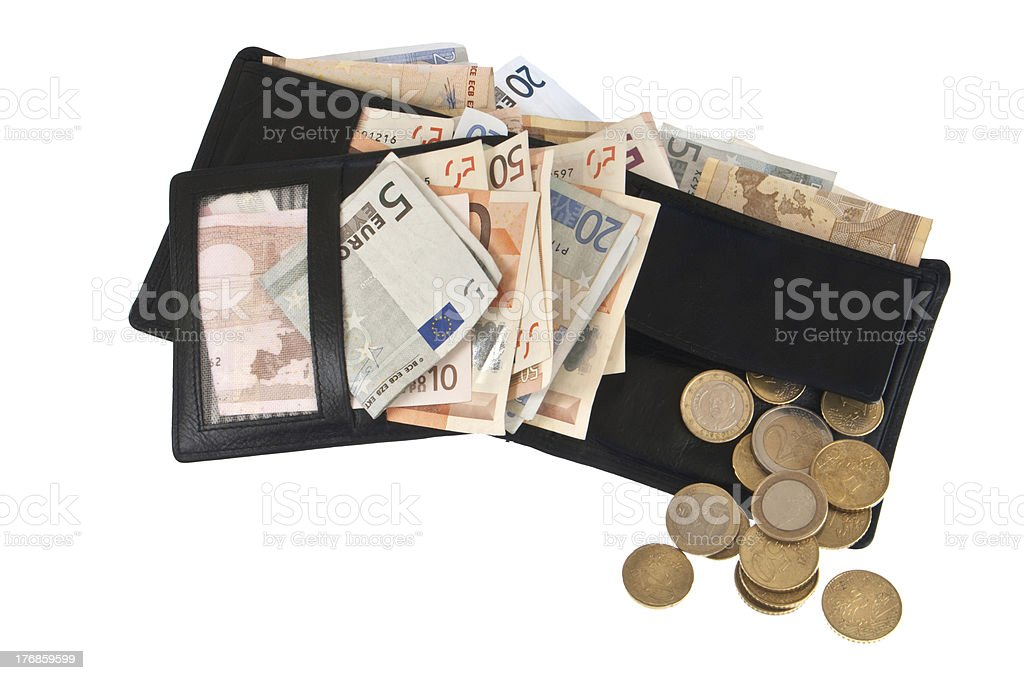 Wallet with bills stock photo