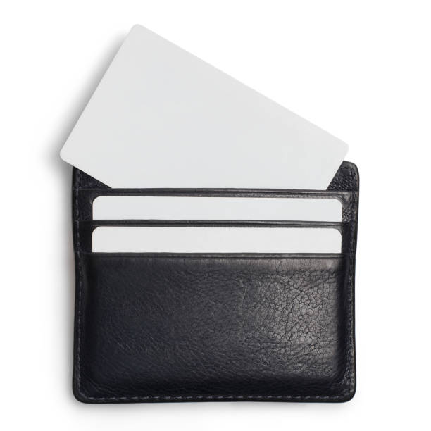 Wallet with cards on white stock photo
