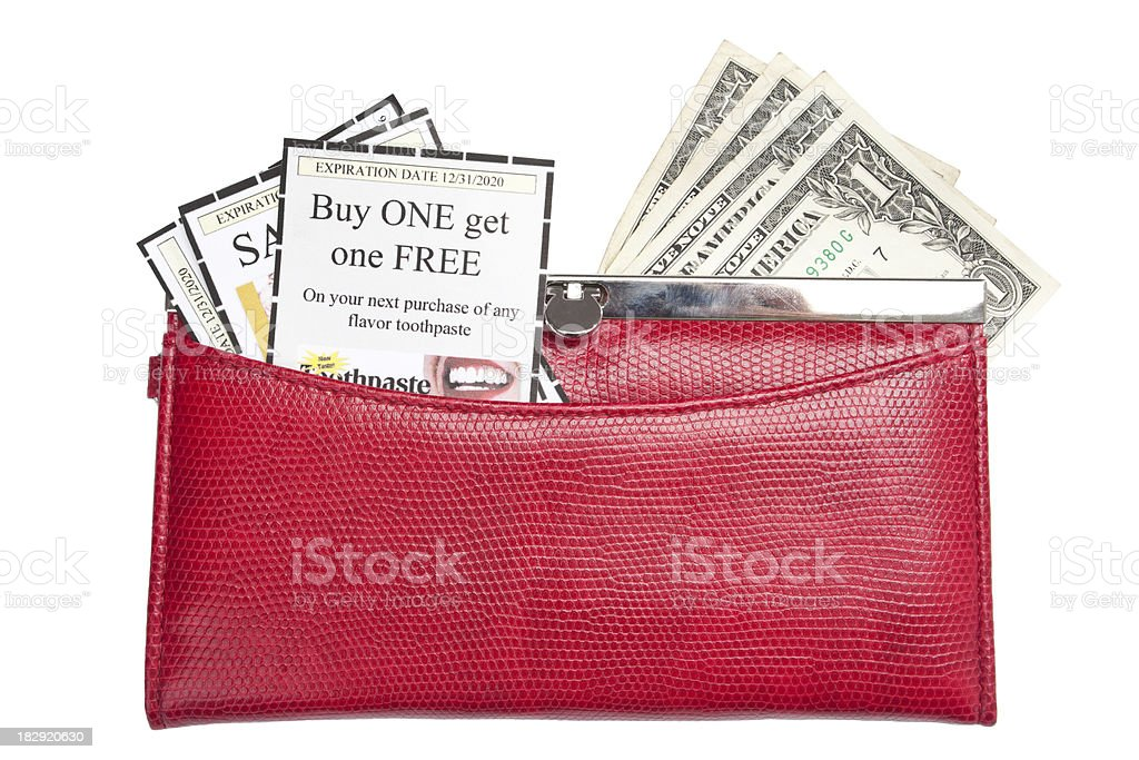 Wallet With Coupons And Money royalty-free stock photo