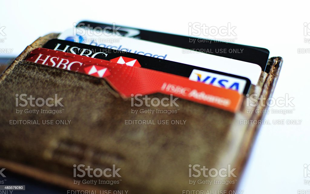 Wallet with credit and debit cards. stock photo