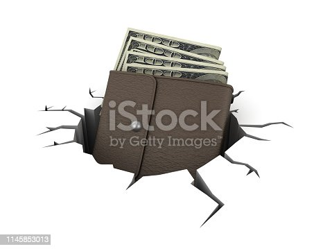 Wallet with Dollar Bills on Hole - White Background - 3D Rendering