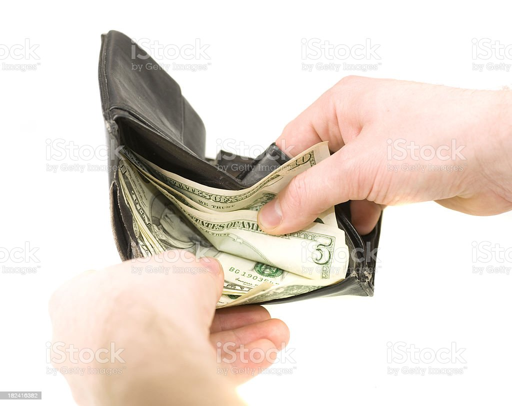 wallet with dollars and hand royalty-free stock photo