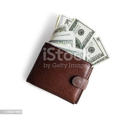 istock Wallet with dollars 1125567959