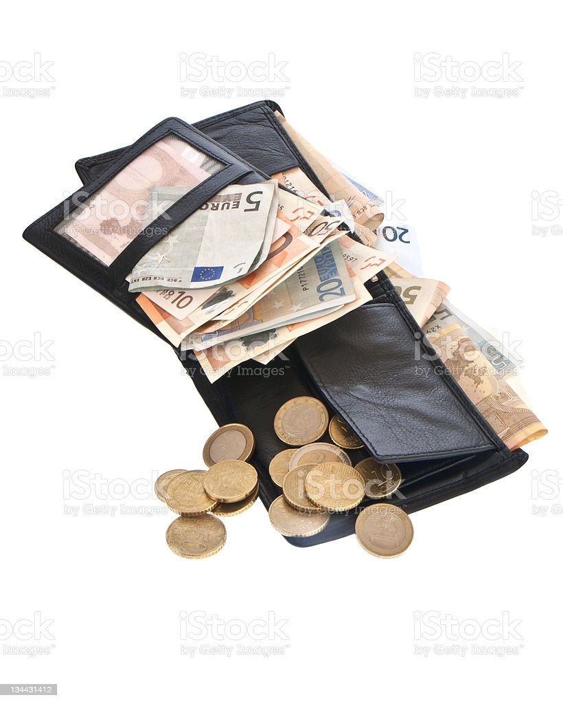 Wallet with euro bills stock photo