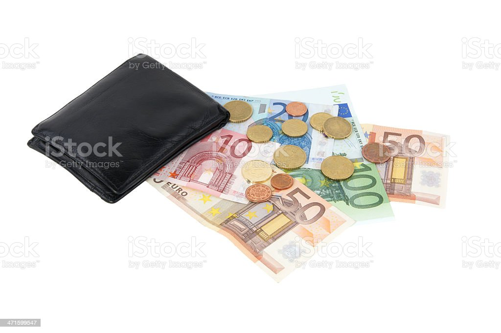 wallet with euro notes and coins royalty-free stock photo