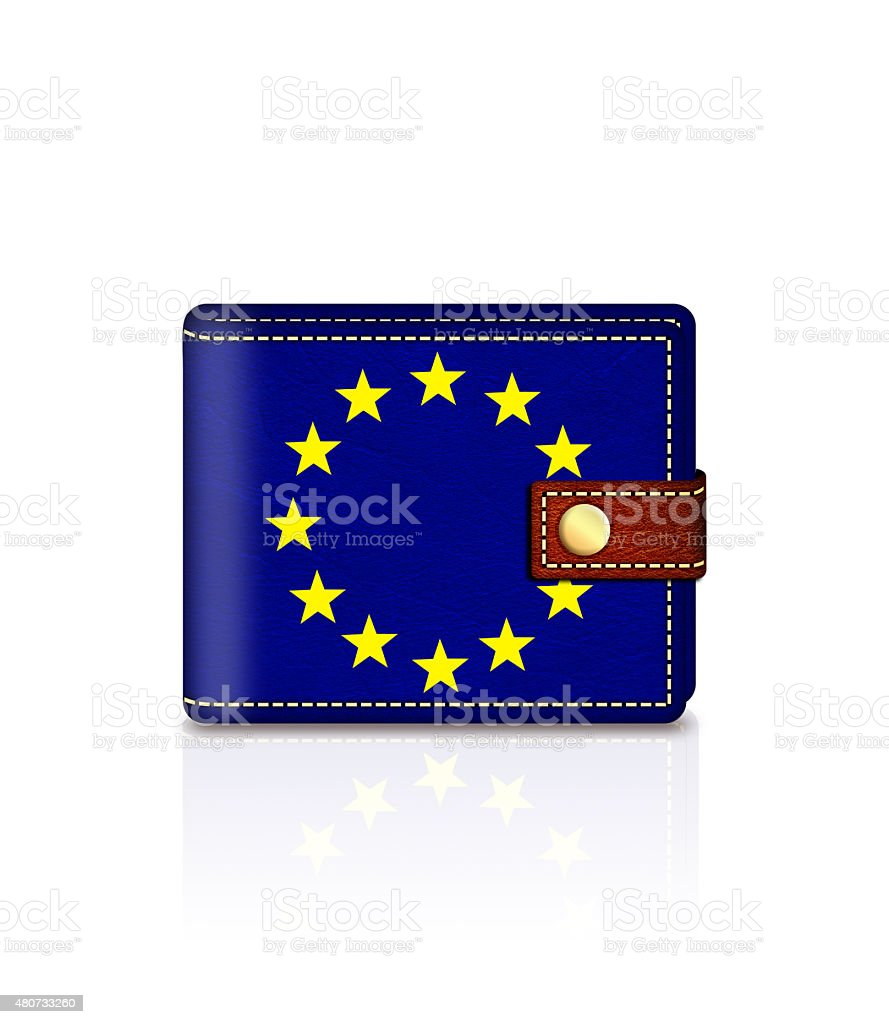 wallet with european union flag isolated over white stock photo