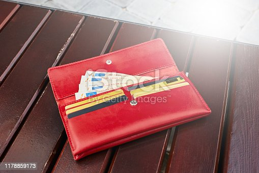 istock Wallet with money and credit cards on the back. 1178859173