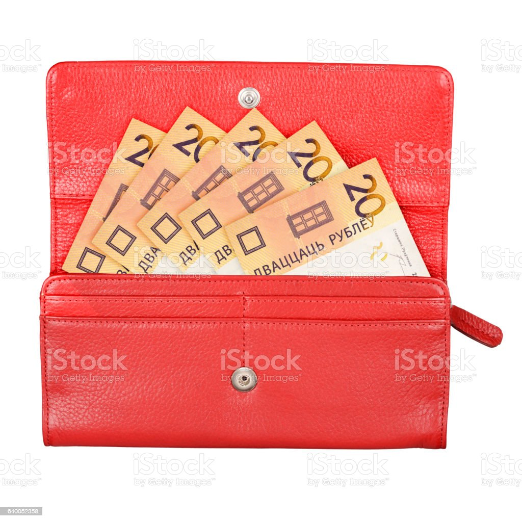 Wallet with money stock photo