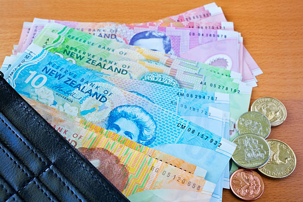 Wallet with New Zealand Money stock photo