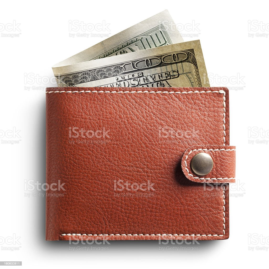 Wallet with one hundred dollar bill royalty-free stock photo