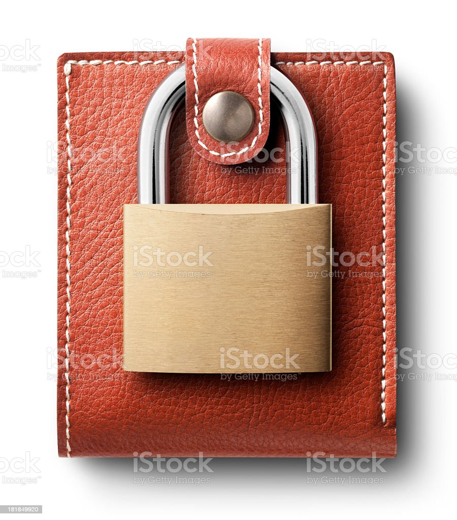 Wallet with padlock royalty-free stock photo