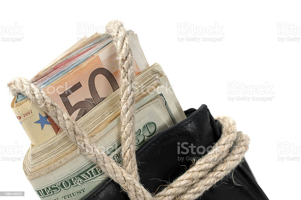 Wallet With Rope Full of Cash royalty-free stock photo