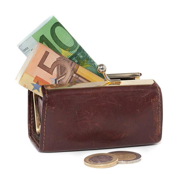 Brieftasche mit 10 euro-Banknoten und -Münzen – Foto