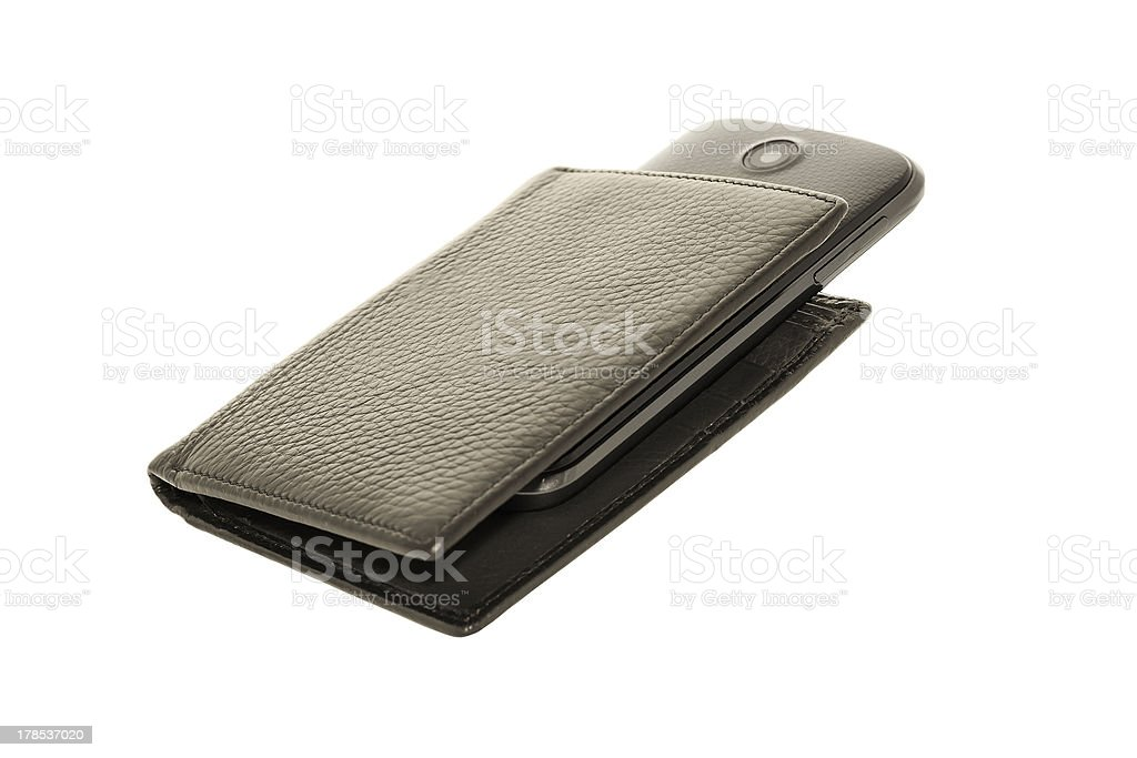 Wallets and mobile. royalty-free stock photo