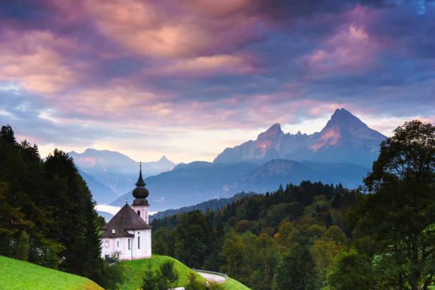 Wallfahrtskirche Maria-Gern in Berchtesgaden Mit Watzmann – Foto