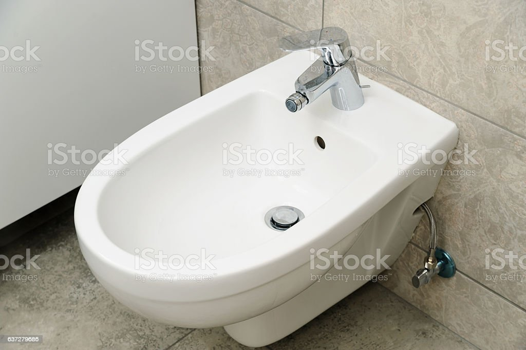 Wall-hung bidet. stock photo