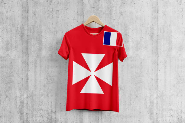 Wallis And Futuna flag T-shirt on hanger, team uniform design idea for garment production. National wear. stock photo