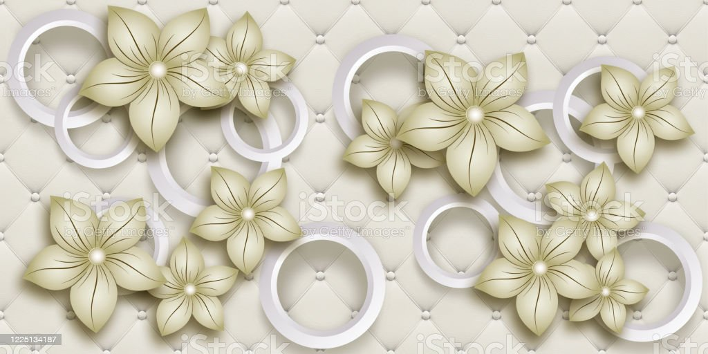 3d Wallpaper Background Beautiful Flowers And Circles Mural Illustration 3d Wall Art For Home Decor Stock Photo Download Image Now Istock