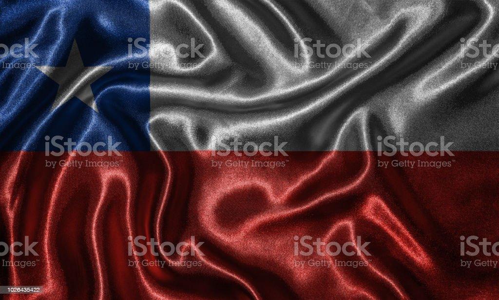 Papel de parede bandeira do Chile e agitando bandeira pela tela. - foto de acervo