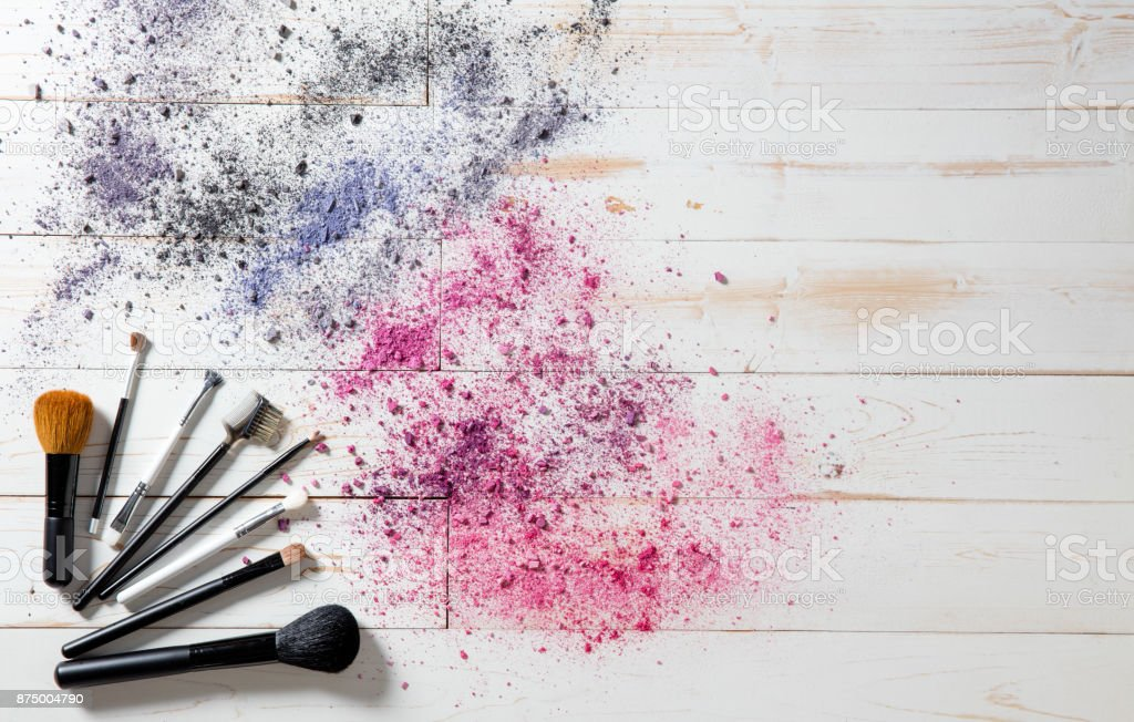 Wallpaper for professional makeup and fashion brushes and colorful pigments royalty-free stock photo