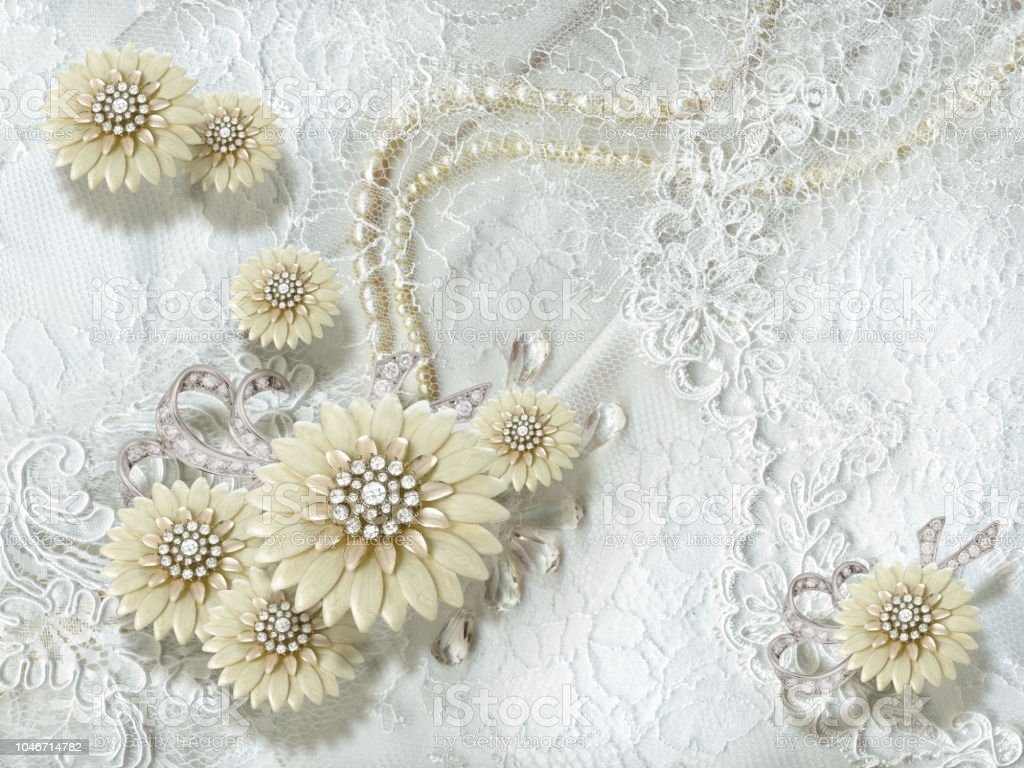 3d Wallpaper Jewelry Flowers And Pearls On White Lace Background Stock Photo Download Image Now Istock