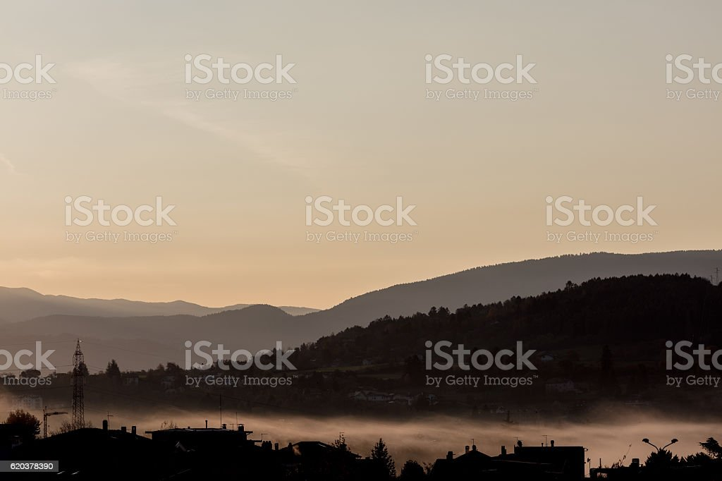 wallpaper of little northern Italy town waking up zbiór zdjęć royalty-free